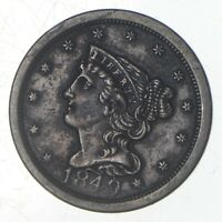 1849 BRAIDED HAIR HALF CENT   JEFFERSON COIN COLLECTION  715