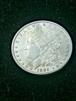 1885 P MORGAN SILVER DOLLAR EXTRA FINE  BRIGHT SOME FROSTY LUSTER IN SAFLIP R29