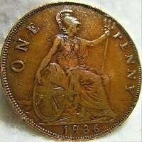 1936 GREAT BRITAIN LARGE PENNY 1 OF 2 SHARP GREAT DETAILS VF