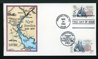 US HAND PAINTED FDC BY WEDDLE: SCOTT 2036  SWEDEN 1453  JOIN