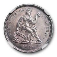 1860 O SEATED LIBERTY HALF DIME NGC MS 62 UNCIRCULATED MAJOR DIE CLASHING NEAT