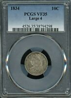 1834 CAPPED BUST DIME LARGE 4 PCGS VF 35 PRICED @ GREYSHEET ASK