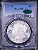 1894-S MORGAN SILVER DOLLAR PCGS MINT STATE 64 CAC BLAST WHITE MIRROR/CAMEO LIKE PQ G021