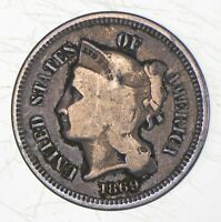 1869 NICKEL THREE CENT PIECE   CHARLES COIN COLLECTION  266