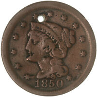 1850 BRAIDED HAIR LARGE CENT  GOOD HOLE SEE PICS E790