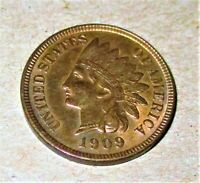 1909 S INDIAN HEAD CENT. AU  DETAILS HARD TO FIND.