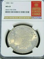 1882 P MORGAN DOLLAR SPECIAL RED BOOK NGC MINT STATE 63 SIL COLOR SEMI  G99