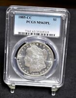 1885-CC MORGAN DOLLAR - PCGS MINT STATE 63PL 32486