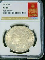 1902 P MORGAN DOLLAR SPECIAL RED BOOK NGC MINT STATE 63 GOLDEN PEWTER GREAT LUSTER G107
