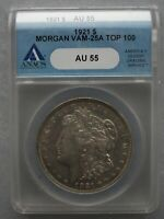 1921P ANACS AU55 VAM 25A WIDE REEDED, DBLD JAW & LEFT STARS, D. G.