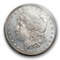 1891 CC $1 MORGAN DOLLAR PCGS MINT STATE 62 UNCIRCULATED CARSON CITY MINT LOOKS PROOF