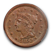 1853 1C BRAIDED HAIR LARGE CENT PCGS MINT STATE 62 BN UNCIRCULATED BROWN ATTRACTIVE