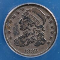 1833 CAPPED BUST DIME ANACS FINE 12 DEEPLY TONED LOVELY OLD ORIGINAL EXAMPLE