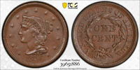 1856 1C UPRIGHT 5 BRAIDED HAIR LARGE CENT PCGS MINT STATE 65 BN UNCIRCULATED EXCEPTIO