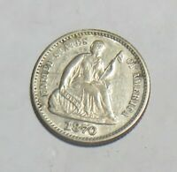 1870 SEATED HALF DIME