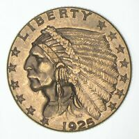 $2.50 UNITED STATES 90  US GOLD COIN   1925 D INDIAN   NO RE