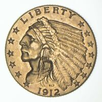 $2.50 UNITED STATES 90  US GOLD COIN   1912 INDIAN   NO RESE