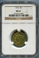 1913  1913 P  $5 GOLD INDIAN HALF EAGLE NGC MS61 MS 61 BETTE