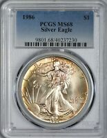 1986 AMERICAN SILVER EAGLE PCGS MINT STATE 68 - FIRST YEAR OF ISSUE - LIGHT OBV TONING
