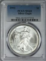 1993 AMERICAN SILVER EAGLE PCGS MINT STATE 68 - AREA OF RAINBOW TONING ON REVERSE