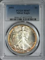 1991 AMERICAN SILVER EAGLE PCGS MINT STATE 67 - GOLDEN ORANGE OBVERSE TONING BY RIM