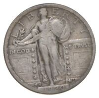 BETTER 1920 S   US STANDING LIBERTY 90  SILVER QUARTER COIN