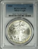 1999 AMERICAN SILVER EAGLE PCGS MS70 - TOUGHEST MS70 -  IN MS70