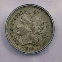 1865-P 1865 THREE CENTS 3CN ICG AU55 CRUSTY AND ORIGINAL