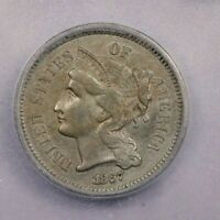 1867-P 1867 THREE CENTS 3CN ICG AU50