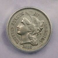 1869-P 1869 THREE CENTS 3CN ICG AU55 DETAILS CLEANED