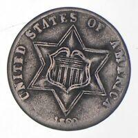 SILVER TRIME 1860 THREE CENT SILVER 3 CENT EARLY US COIN LOOK IT UP   436