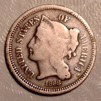 1868 THREE CENTS NICKEL 3C