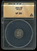 1831 CAPPED BUST HALF DIME LM-1.2 ANACS VF 30 PRICED @ GREYSHEET ASK