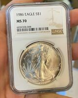 1986 AMERICAN SILVER EAGLE ASE 1OZ .999 COIN NGC GRADED MS70