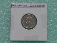 GREAT BRITAIN   1925 SIX PENCE   PREDECIMAL COIN.