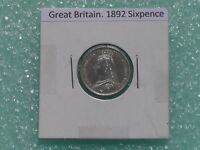 GREAT BRITAIN   1892 SIX PENCE   PREDECIMAL COIN.