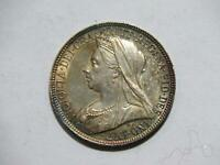 GREAT BRITAIN 1897 FLORIN 2 SHILLING QUEEN VICTORIA TONED SILVER WORLD COIN
