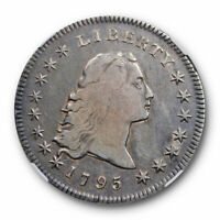 1795 $1 FLOWING HAIR DOLLAR NGC F 12 FINE TWO LEAVES EARLY AMERICAN TYPE COIN