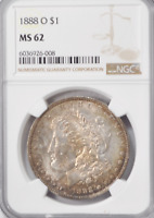 1888 O $1 MORGAN SILVER ONE DOLLAR MINT STATE 62 NGC NEW ORLEANS UNCIRCULATED TONED COIN