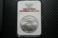 2006 SILVER EAGLE NGC MINT STATE 69 FIRST STRIKE 46094