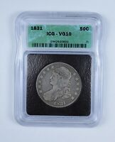VG10 1831 CAPPED BUST HALF DOLLAR - GRADED BY ICG 9085