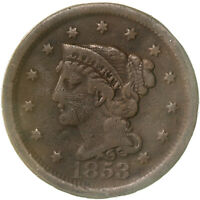 1853 BRAIDED HAIR LARGE CENT FINE DETAILS SCRATCHED SEE PICS D427