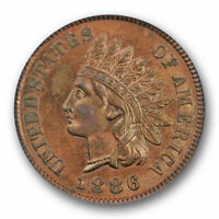 1886 1C PROOF INDIAN HEAD CENT ICG PR 63 BN BROWN VARIETY 1 TYPE 1 PROOF