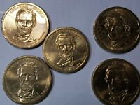 5 - 2010 PRESIDENTIAL ONE DOLLAR COINS - 3 LINCOLN, 1 FILMORE, 1 PIERCE