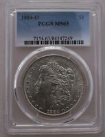 1884 O/O  PCGS GRADED MINT STATE 63 VSS VAM 7A  FAR DATE, PITTED DIE ED