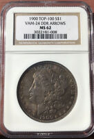 1900 TOP 100 P MORGAN SILVER DOLLAR VAM 24 DDR MINT STATE 62 NGC, HEAVILY TONED BEAUTY.