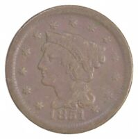 BETTER 1851 BRAIDED HAIR US LARGE CENT PENNY COIN COLLECTION