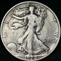 FINE 1928 S WALKING LIBERTY SILVER HALF DOLLAR FREE SHIPPING