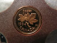 1994 UNC FROSTED PROOF CANADIAN PENNY ONE CENT   1 CENT COIN
