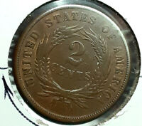1864 TWO CENT PIECE LARGE MOTTO HIGHER GRADE WITH ROTATED RE